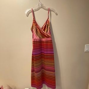 Banana Republic silk dress, multi-colored stripes